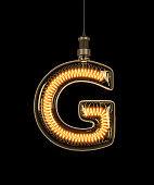 Alphabet G made of light bulb.