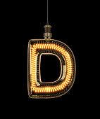 Alphabet D made of light bulb.