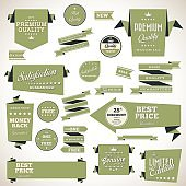 Set of retro product recommendations - origami vintage labels set.Vector design elements