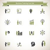 Business training icon set