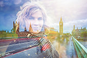 Double exposure portrait of a mature woman with the Big Ben in London
