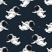 Many cute spacemans flying in outer space