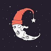 sleeping crescent in hat