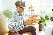 The man with glasses of virtual reality. Future technology concept