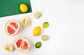 The fresh fruits on white background