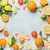 Variety of fresh citrus fruit for making juice or smoothie