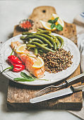 Roasted salmon with quinoa, pepper and poached green beans