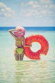 Enjoying in sun at shallow water, Maldives