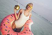 Hot blonde girl on vacation, Maldives
