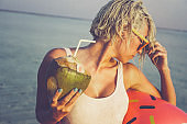 Blonde girl on vacation, Maldives