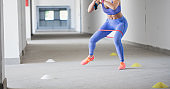 Fit girl training indoors