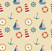 seamless pattern of marine theme set
