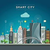 Modern building and landmark, smart city communications