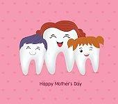 Cute cartoon tooth family.