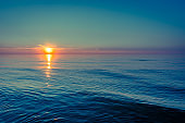 Sea sunset on the beach in the summer, landscape
