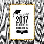 Graduation celebration 2017 class of greeting card with hat, scroll and laurel on waves background for invitation, banner, poster, postcard. Vector illustration