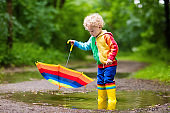 Child playing in the rain under umbrella