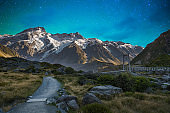 Mount Cook in Lake Matheson New Zealand with milky way