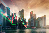 Panoramic view urban cityscape singapore with investment theme background