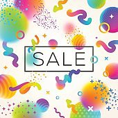 Abstract festive multicolored background with sale banner.