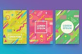 Vector set of abstract Retro style retro background