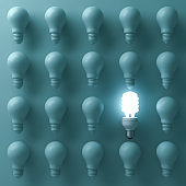 Energy saving light bulb , one glowing compact fluorescent lightbulb standing out from unlit incandescent bulbs on green background , individuality and different creative idea concepts . 3D render