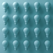 3d light bulbs on cyan background with abstract shade and shadows . 3D render