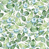 Seamless pattern with pearls and leaves 1