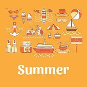 Collection of vector summer icons.
