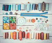 Tools and accessories for sewing. Vintage tone. Top view.