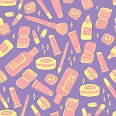 Perfect make up hand drawn seamless vector pattern in trendy and cute style
