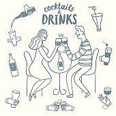 Doodle romantic pair drinking wine
