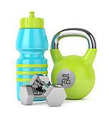 3d render of kettlebell, sport bottle and dumbbells