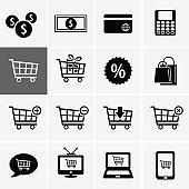 Shopping Icon Set. Cart symbol, Mobile Shop, e-shopping, Express Checkout and more.