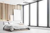 Light bedroom, wood, side
