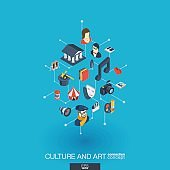 Culture and art integrated 3d web icons. Digital network isometric concept