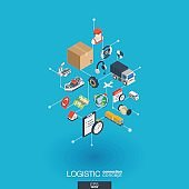 Logistic integrated 3d web icons. Digital network isometric concept.