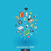 Education integrated 3d web icons. Digital network isometric concept.