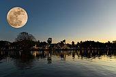 Full moon in night time