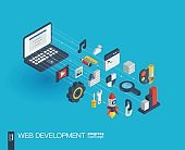 Web development integrated 3d icons. Growth and progress concept