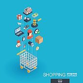 Shopping integrated 3d web icons. Growth and progress concept