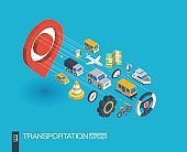 Transportation integrated 3d web icons. Growth and progress concept