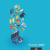 Travel integrated 3d web icons. Growth and progress concept