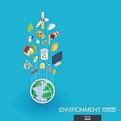 Environmental integrated 3d web icons. Growth and progress concept