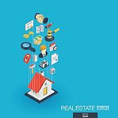 Real estate integrated 3d web icons. Growth and progress concept