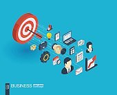 Business integrated 3d web icons. Growth and progress concept