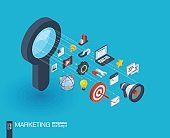 Marketing integrated 3d web icons. Growth and progress concept