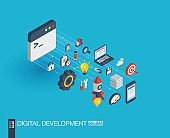 Development integrated 3d web icons. Growth and progress concept