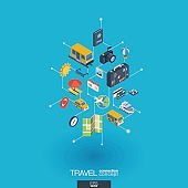Travel integrated 3d web icons. Digital network isometric concept.