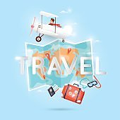 World Travel by plane. Planning summer vacations. Holiday, journey. Tourism and vacation theme. Poster. Flat design vector illustration.